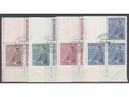 1942, 30h-2.50K Hitler, levé dolní roh. 4bloky s kupony, VK1, Nr.74-7, razítkované