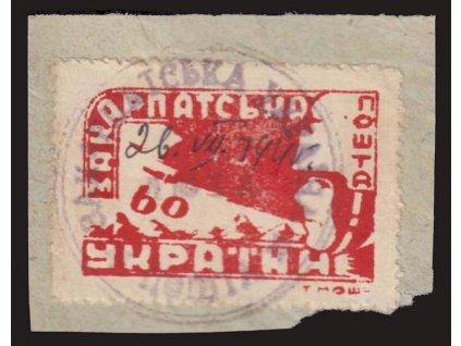 1945, 60F červená, výstřižek, MiNr.78A, hledané