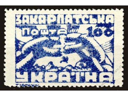 Karpatská Ukrajina, 1945, 100F modrá, MiNr.79A, **