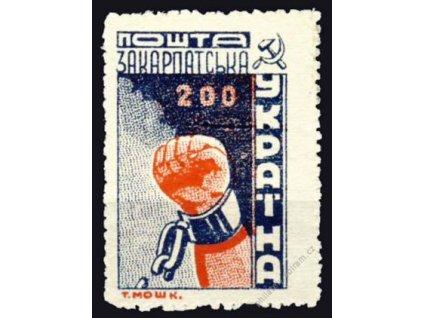 Karpatská Ukrajina, 1945, 200F modrá, MiNr.80A, **