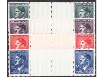 1942, 10-50K Hitler, vodorovná meziarší, Nr.96-9, **