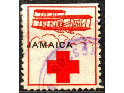 Jamaika, známka ČK, fialové razítko, 1914