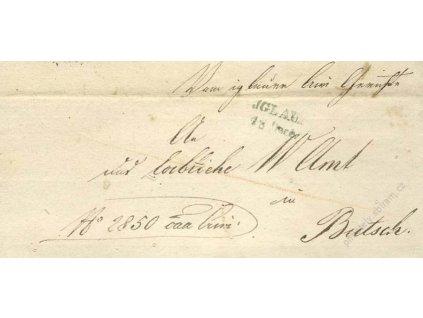 Jglau, modré razítko, dopis z roku 1845