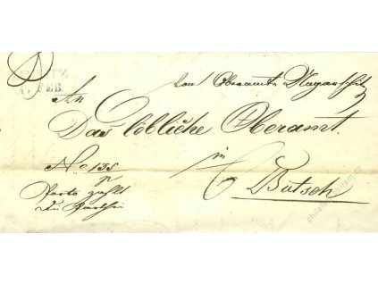 Jamnitz, modré razítko, dopis z roku 1846
