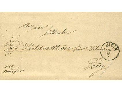 Jičín, skládaný dopis z roku 1883, stopy stáří