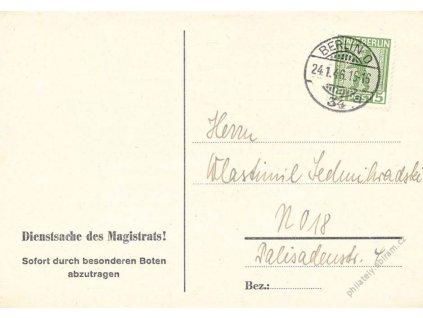Berlín, 1946, DR Berlín O, firemní lístek, průseky