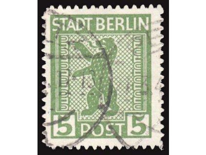 Berlin a Brandenburg, 1945, 5Pf Znak, razítkované