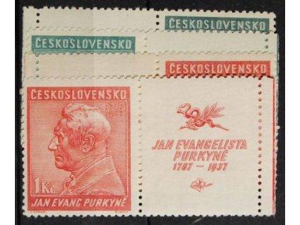 1937, 50h -1Kč Purkyně, kupony L+P, Nr.322-23K, **