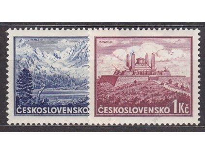 1937, 50h-1Kčs Bratislava, známky z aršíku, Nr.329-30, * po nálepce