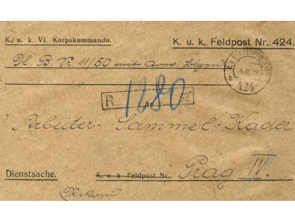 No.424b, R-dopis, zasl. v roce 1918 do Čech