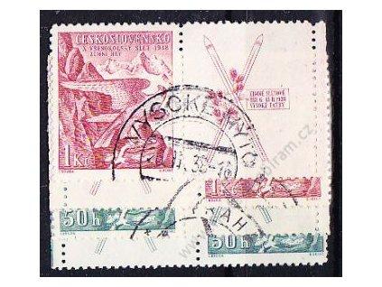1938, 50h-1Kč Sokolské hry, kupony, L+P, Nr.331-2, razítkované, ilustrační foto