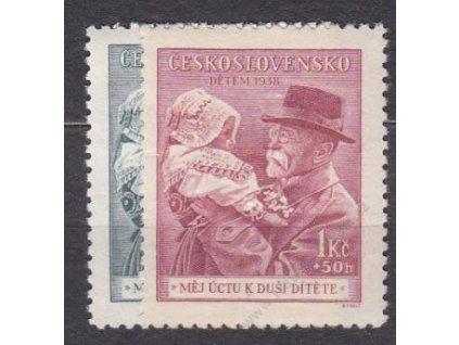 1938, 50h-1Kč Masaryk, Nr.333-4, **