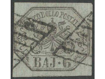 Kirchenstaat, 1852, 6Baj Znak, MiNr.7, razítkované, dv
