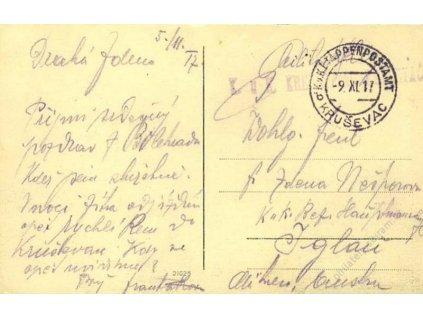Kruševac b, pohlednice zasl. v roce 1917