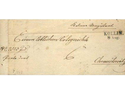 Kollin, skládaný dopis z roku 1847, stopy pošt. provozu