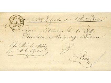Kollin Stadt, skládaný dopis z roku 1865