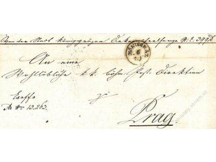 Konigratz, skládaný dopis z roku 1852, stopy stáří