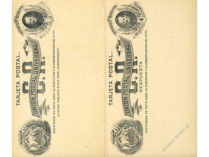 Costa Rica, 1900, dvojitá dopisnice 4C, neprošlé