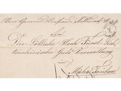 Kornitz, skládaný dopis z roku 1862