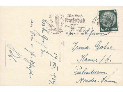 Karlsbad, 1939, propagační DR Karlsbad, pohlednice, prošlé
