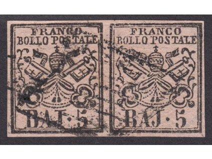 Kirchenstaat, 1852, 5Baj Znak, 2páska, razítkované