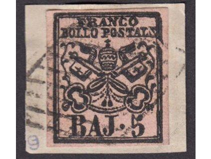 Kirchenstaat, 1852, 5Baj Znak, výstřižek, fald, těžší *