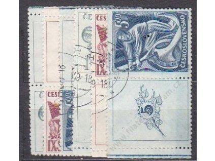 1949, 1.50-5Kčs KSČ, kupony, Nr.511-13, razítk.