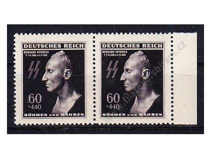 1943, 60+440h Heydrich, kraj.2páska s DV - vajíčko, Nr.111, **