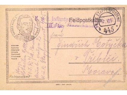 No.445a, lístek PP, zasláno v roce 1917 na Moravu