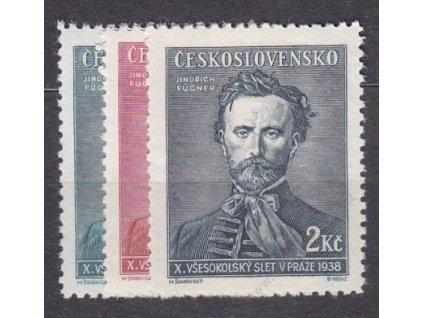1938, 50h-2Kč Fugner, Nr.339-41, **