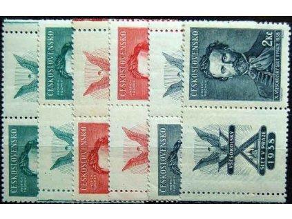 1938, 50h-2Kč série Fugner, levé a pravé kupony, Nr.339-41K, **