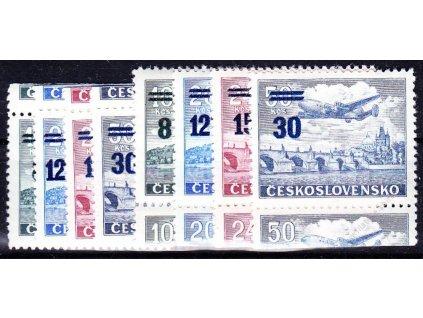 1949, 8-30Kčs Letecké, okraje, H+D, Nr.K L29-32, * po nálepce