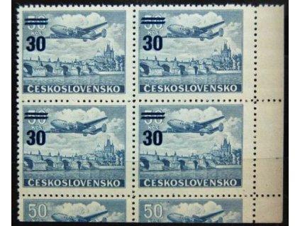 1949, 30/50Kčs letecké, Nr.L32, roh. 4blok, **