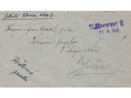 Liberec, 1945, dopis, odesláno z letiště, letka 3