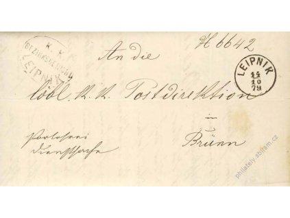 Leipnik, skládaný dopis z roku 1879, stopy stáří
