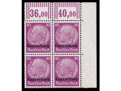 Luxemburg, 1940, 40Pf Hindenburg, roh. 4blok, MiNr.12, **