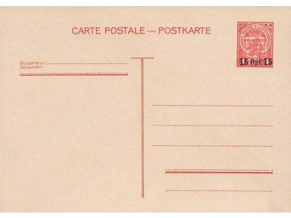 Luxemburk, 1940, 15Rpf/1Fr dopisnice, MiNr.P8, neprošlé, dv