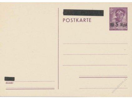 Luxemburg, 1940, dopisnice 5Pf/75C MiNr.P6, neprošlé