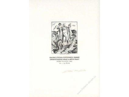 Mráček, podpis na grafice z roku 1980
