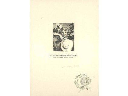 Mráček, podpis na rytině z roku 1975, malý formát