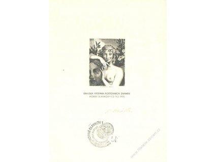 Mráček, podpis na rytině z roku 1975, dv