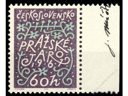 Mráček, 1967, podpis na známce, **