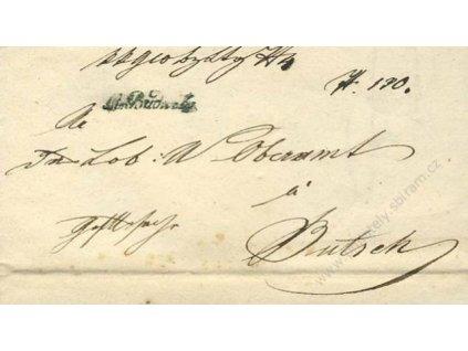 M.Budwitz, modré razítko, skládaný dopis