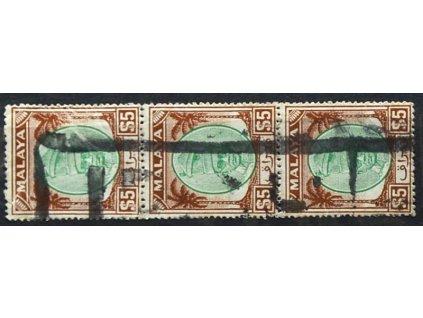 Malay, Perak, 1950, 5Dolarů Shah, razítkované