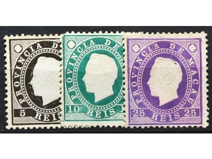 Macau, 1888, 5, 10 a 25R Luis, různá jakost, (*)