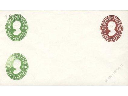 Mexiko, 1910, 5 a 10C Hidalgo, celinová obálka, neprošlé