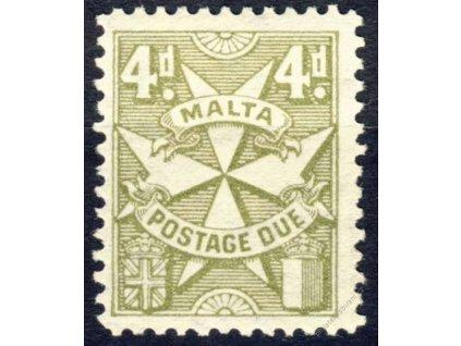 Malta, 1925, 4P doplatní, MiNr.17, * po nálepce