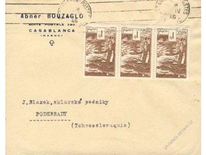 Maroko, 1946, DR Casablanca, tiskopis zasl. do ČSR