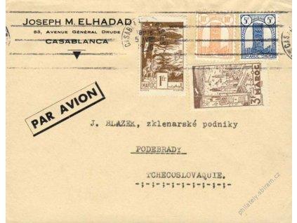 Maroko, 1946, DR Casablanca, letecký dopis