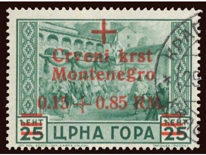 Montenegro, 1944, 0.15+0.85RM/25Cmi zelená, razítkované